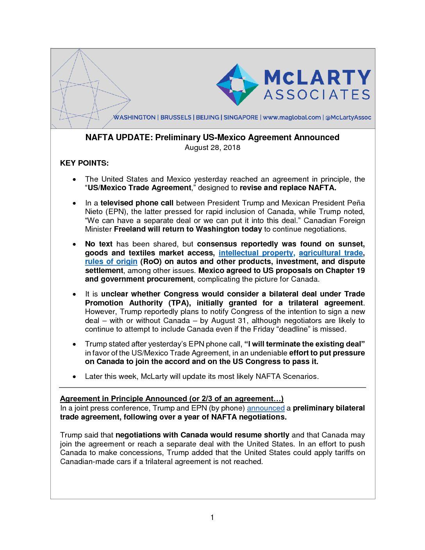 Mclarty Update Nafta August 28 2018 Mclarty Associates